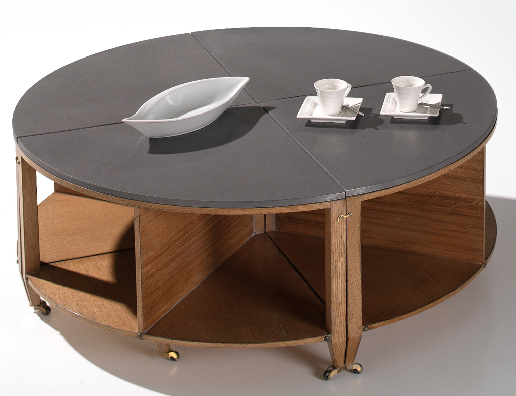 table basse ronde a roulette lille maison. Black Bedroom Furniture Sets. Home Design Ideas