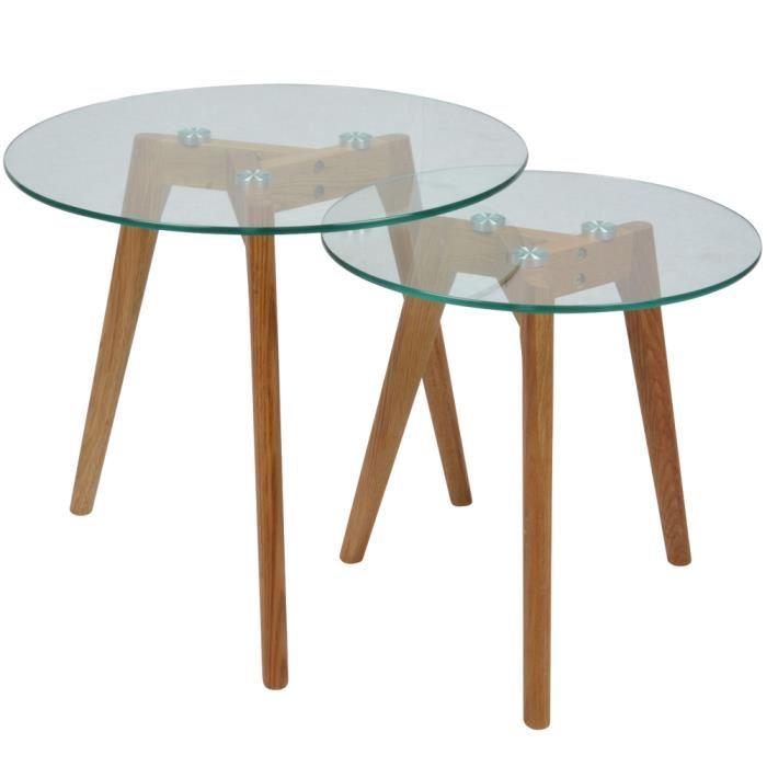 Table Basse Gigogne Bois Et Verre Lille Menagefr Maison