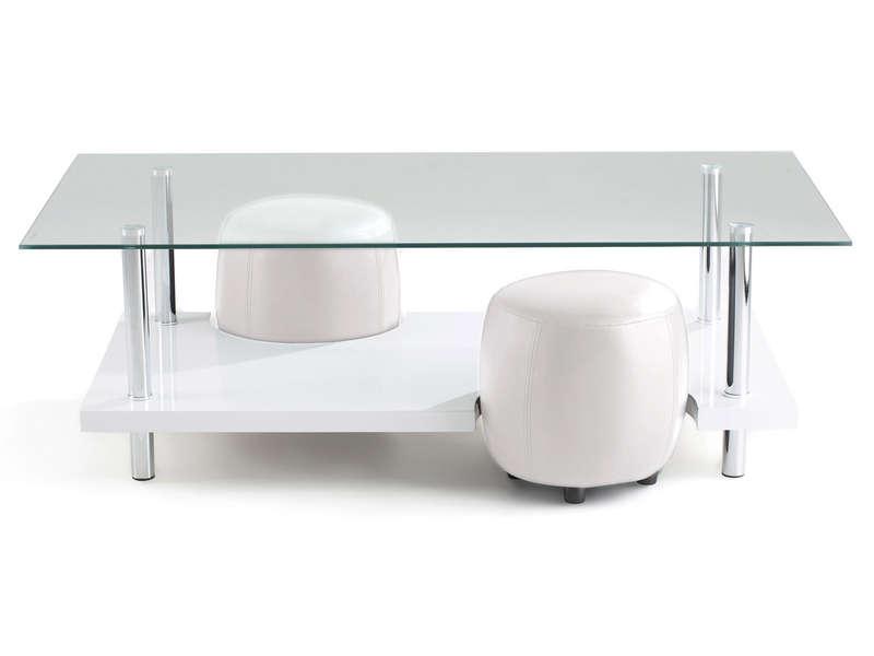 Table basse avec pouf blanc lille maison Meuble stratifie definition