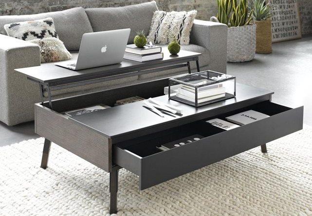 table basse ronde avec plateau relevable lille maison. Black Bedroom Furniture Sets. Home Design Ideas