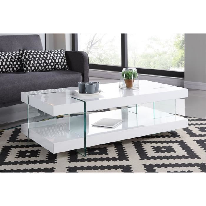 Table basse en verre avec pied blanc laqu lille maison - Table basse contemporaine en verre ...