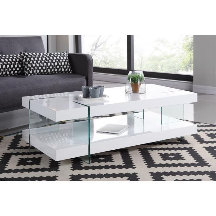 Table basse en verre avec pied blanc laqu lille maison for Table basse style mexicain