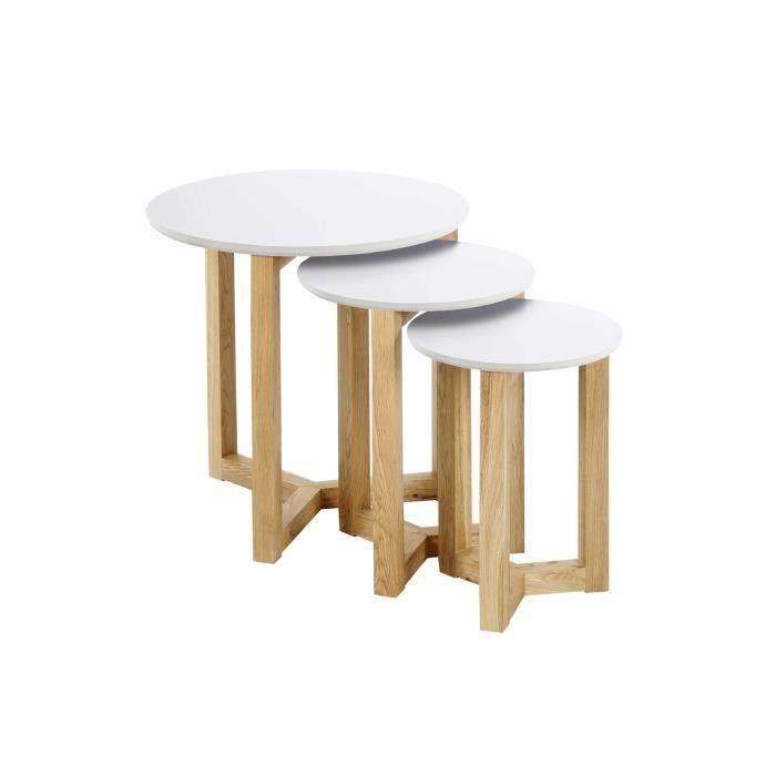 Table Basse Gigogne Blanc Et Bois Lille Menage Fr Maison