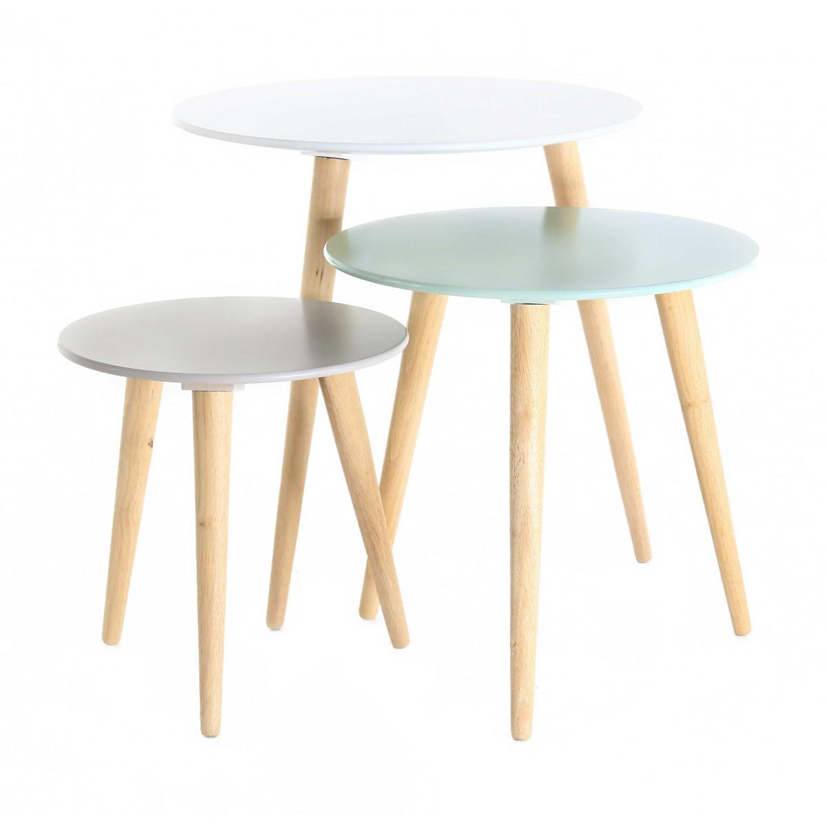 Table Basse Gigogne Blanche Et Bois Lille Menage Fr Maison