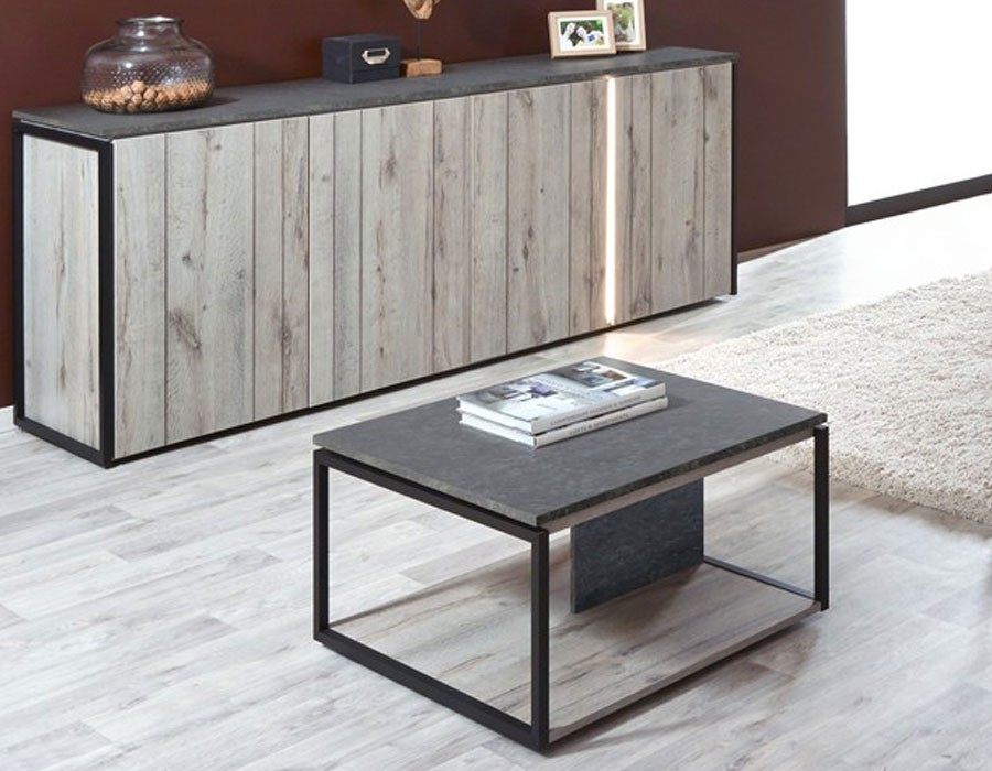 Table basse carree chene gris