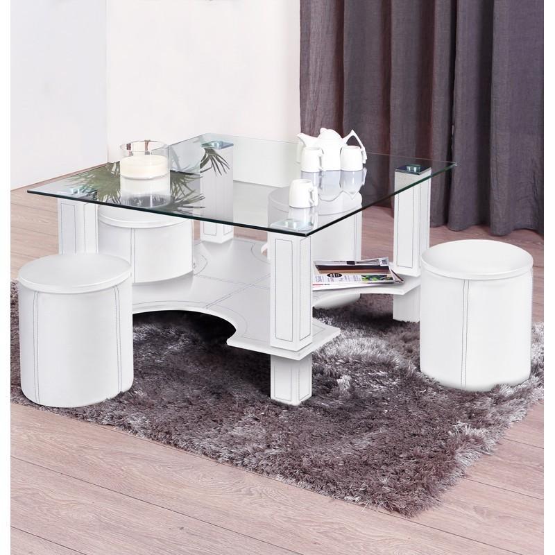 Table basse carré avec pouf