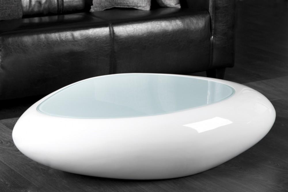 Table Basse Design Galet Ii Blanc Laque Lille Menage Fr Maison