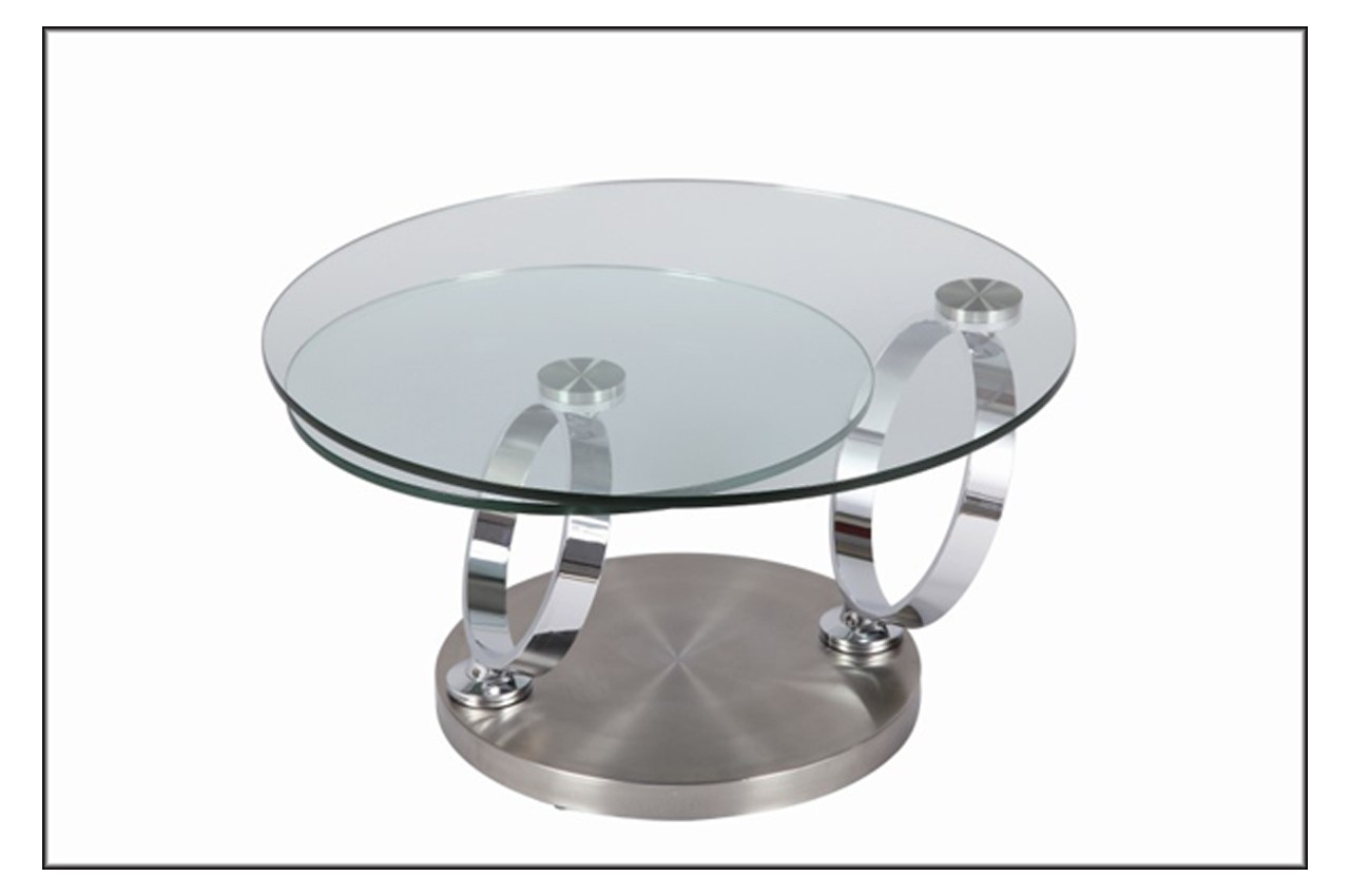Table basse en verre ronde modulable