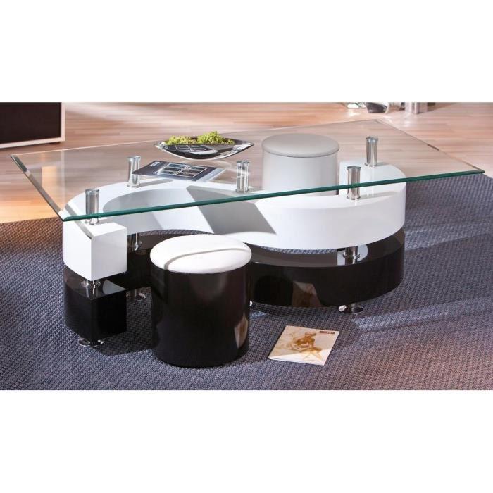 Table basse relevable serena verre noir