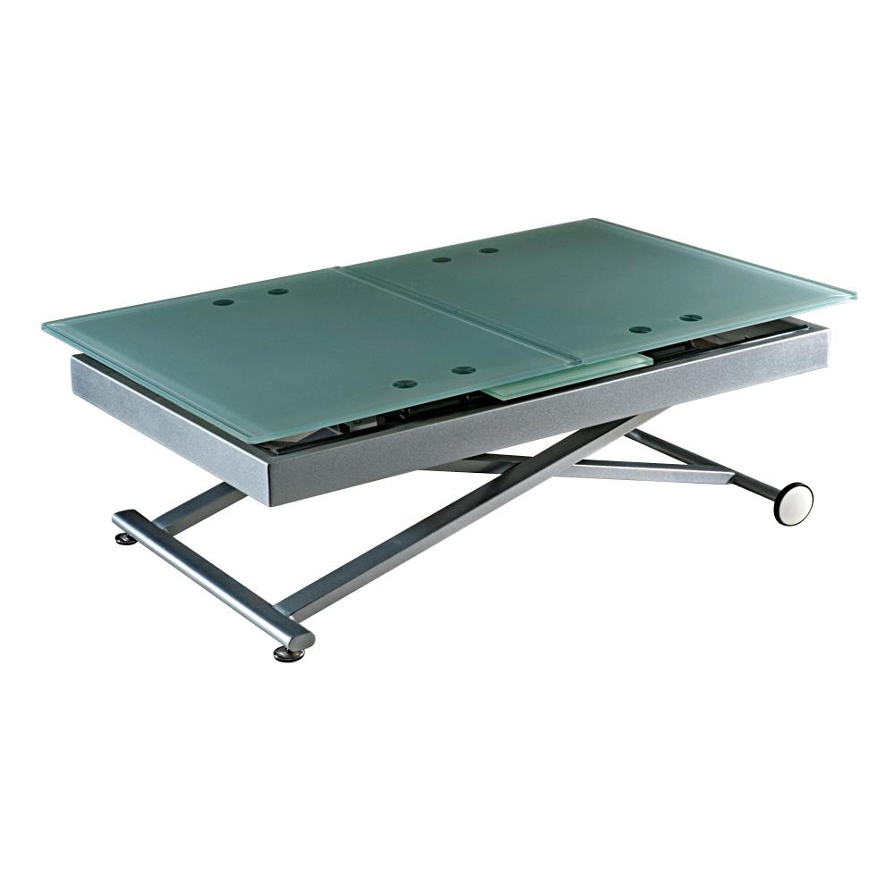 Table basse relevable verre noire avec rallonge