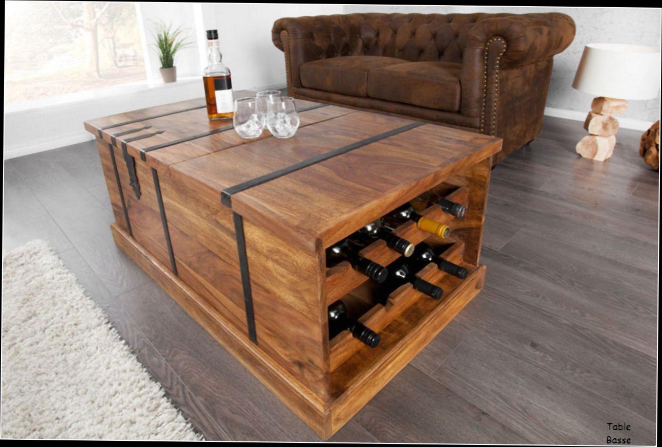 Table basse en palette avec rangement bouteille - lille-menage.fr maison