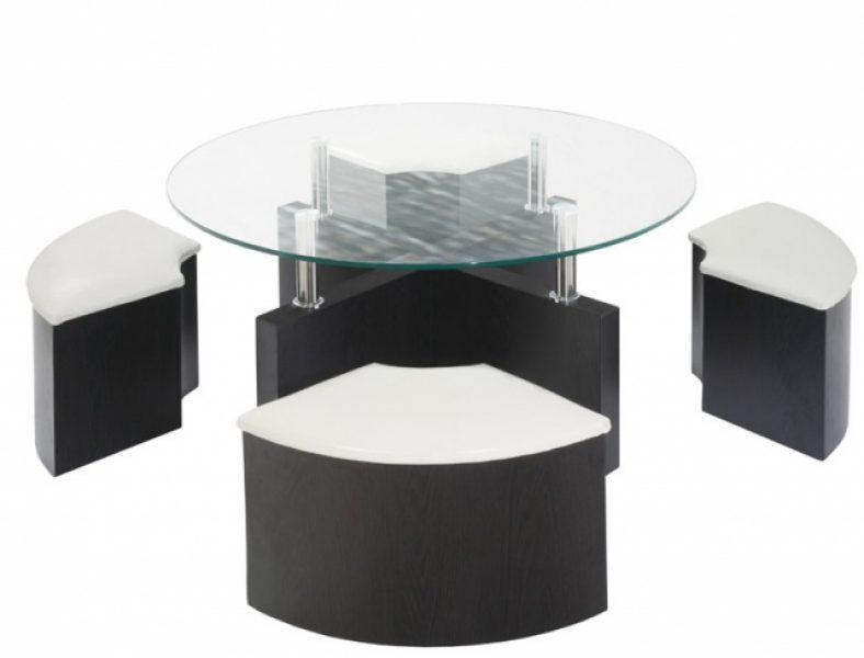 Table basse rectangulaire avec pouf