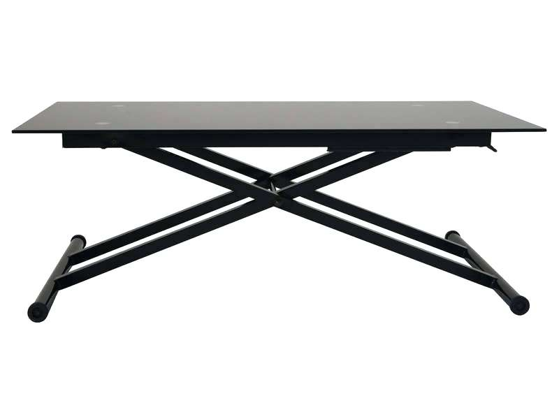 Table Basse Relevable Sally Verre Noir 2 Metre
