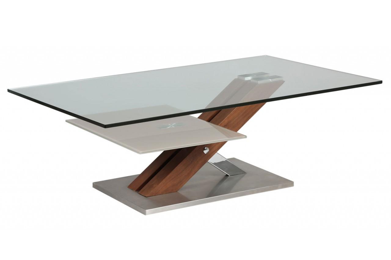 Table basse design verre pivotant