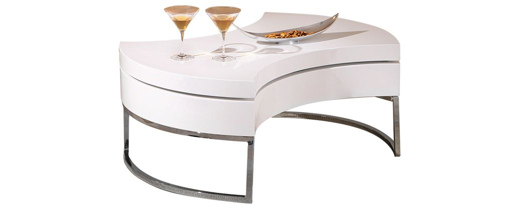 Table basse design blanc laqué plateau pivotant turn