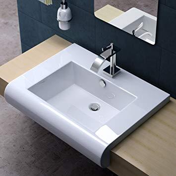 Lavabo salle de bain intégrée plan de travail
