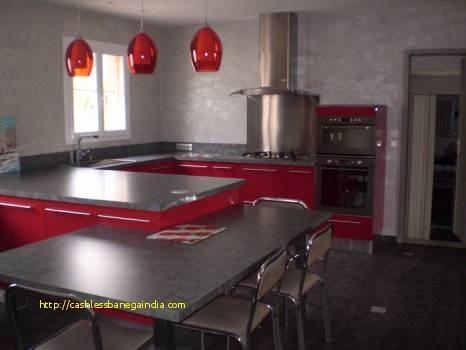 Cuisine rouge plan de travail noir lille maison - Cuisine rouge et grise ...