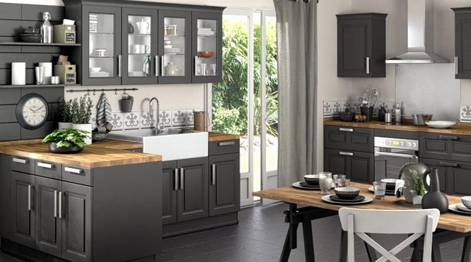 cuisine grise anthracite avec plan de travail bois lille maison. Black Bedroom Furniture Sets. Home Design Ideas