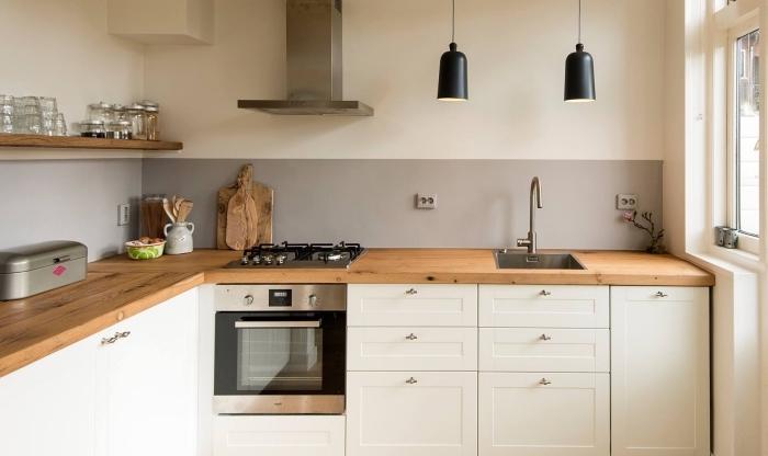 Plan de travail bois avec rangement lille maison - Cuisine blanche avec plan de travail bois ...