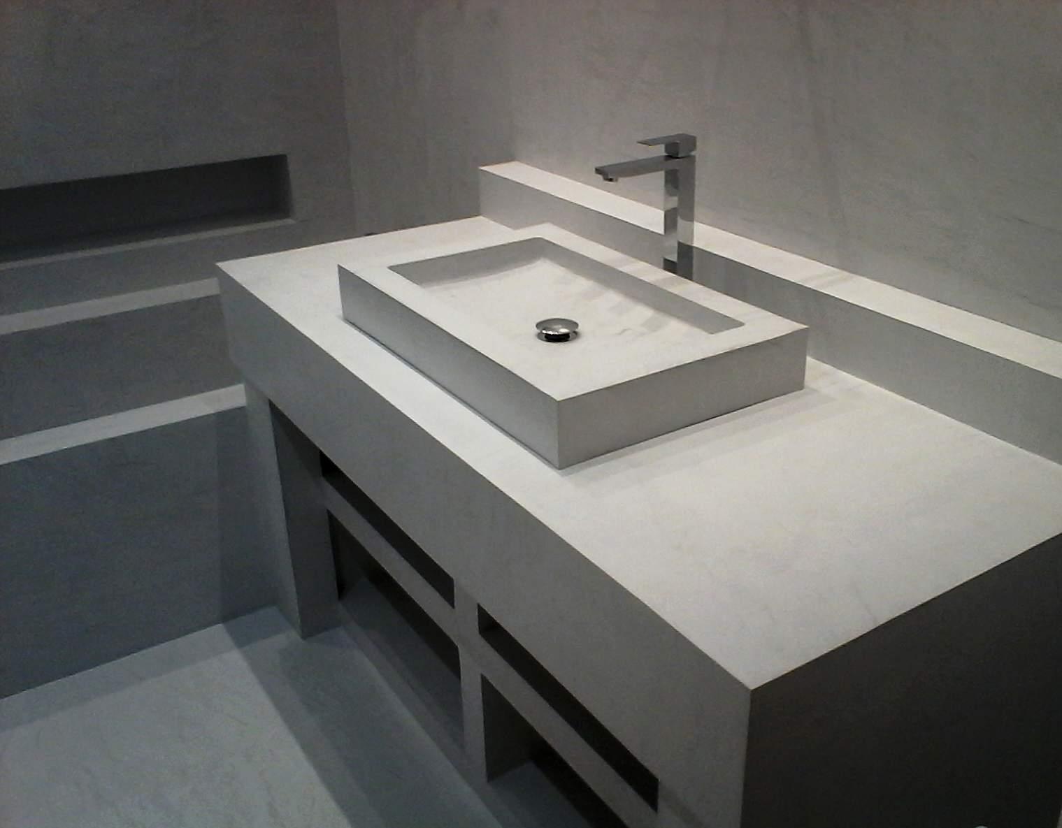 Plan de travail salle de bain beton cellulaire