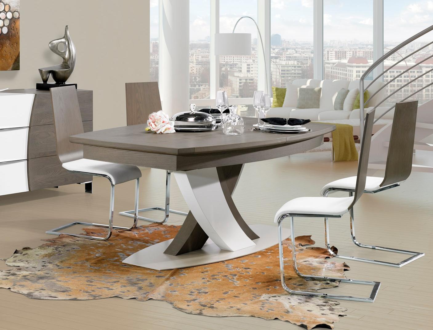 table de cuisine en bois avec pied central  lillemenage