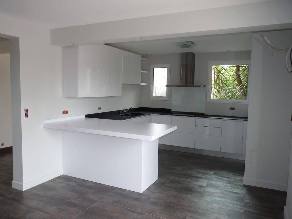 Plan de travail blanc design lille maison - Cuisine grise plan de travail blanc ...