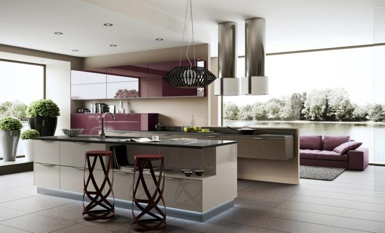 Modele de cuisine moderne ouverte sur salon
