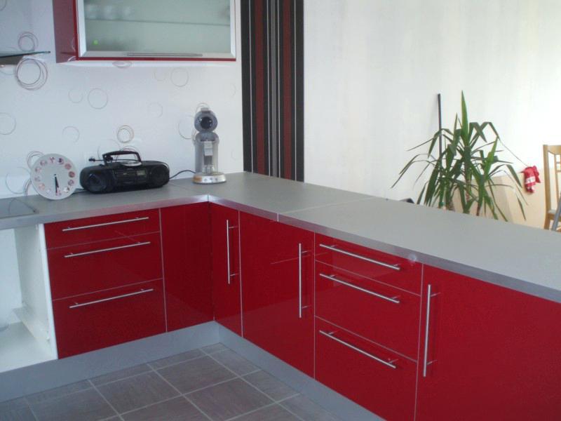 Meuble cuisine ikea rouge laqué