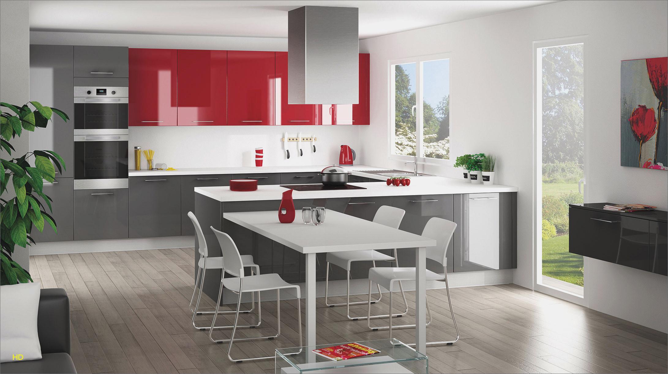 Photo cuisine gris et rouge