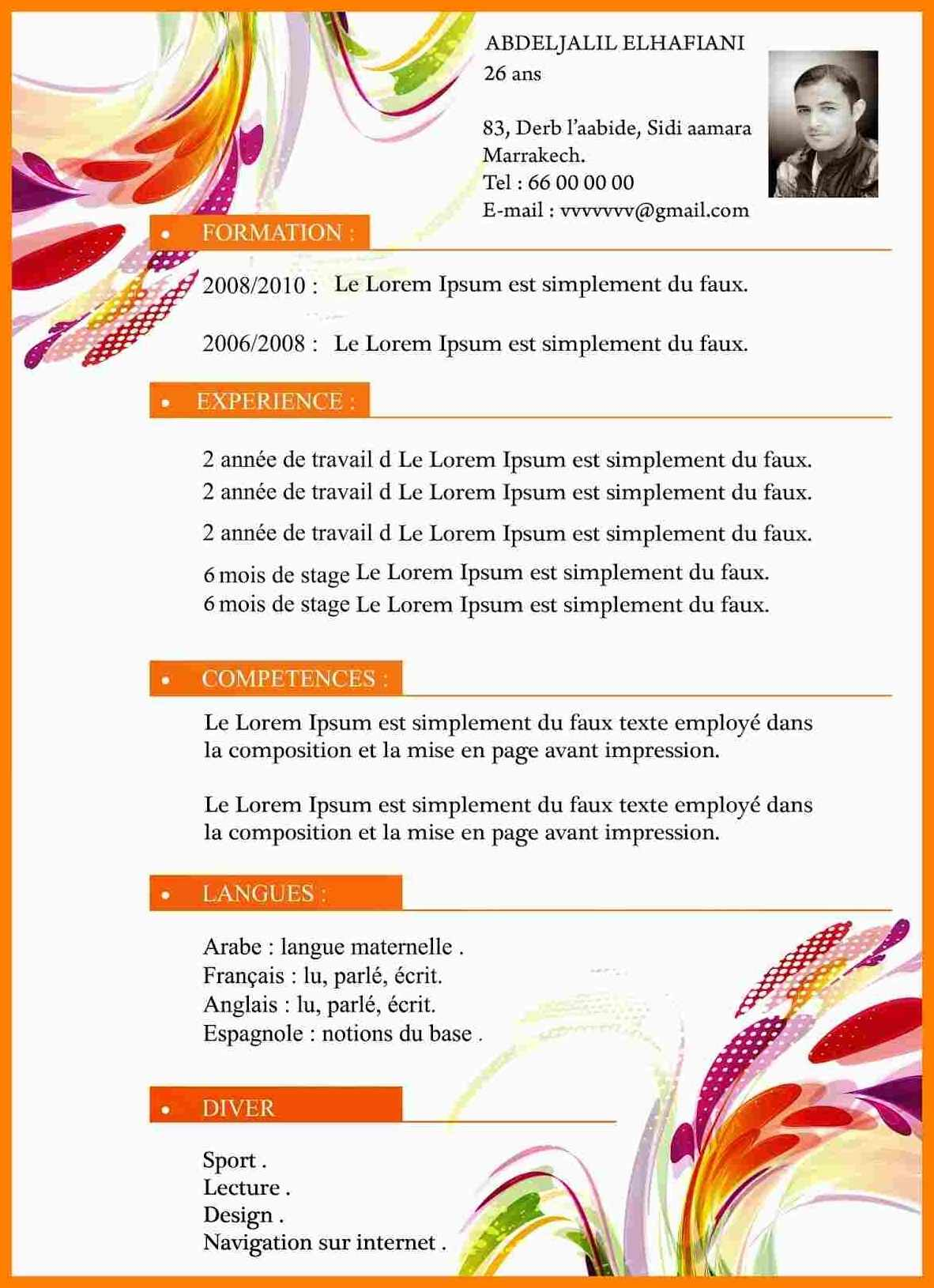 model cv cuisinier maroc