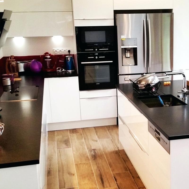 Cuisine Blanche Plan De Travail Granit Noir Lille Menagefr Maison