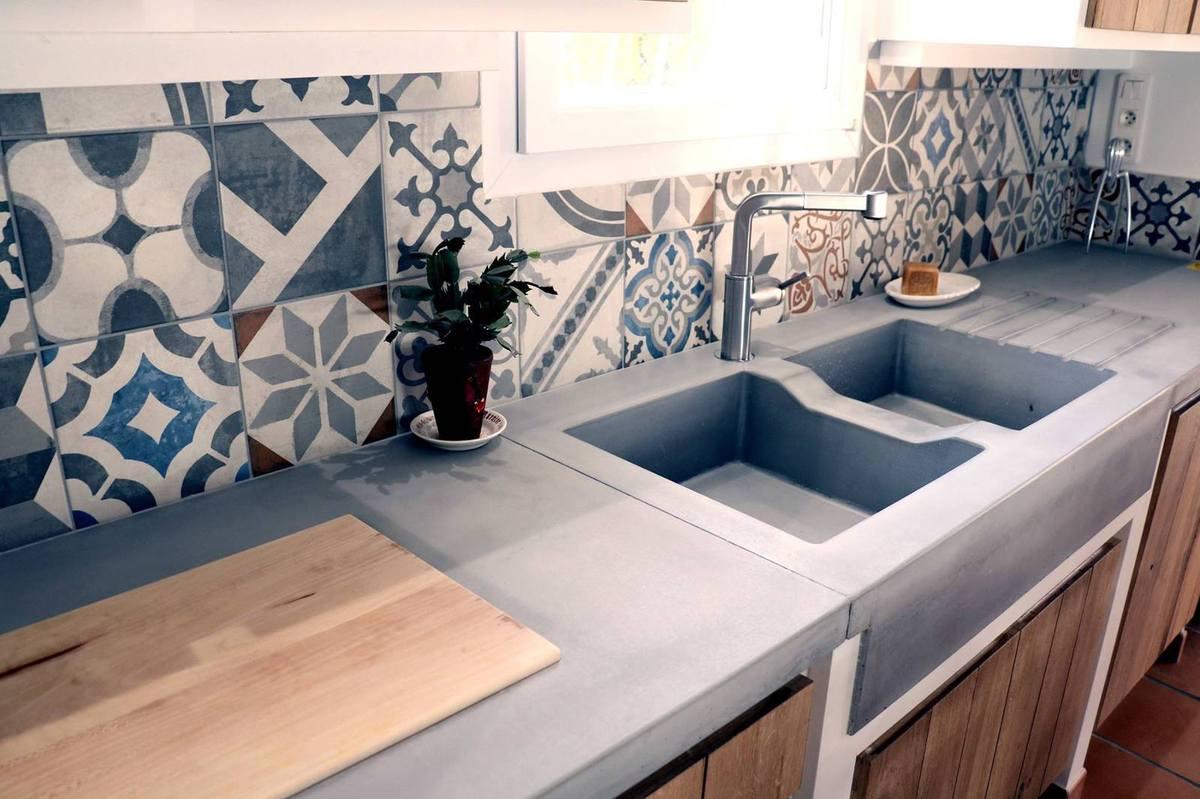 Plan de travail cuisine aspect beton