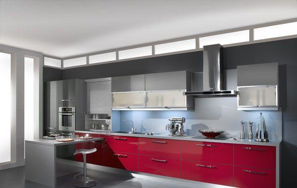 Photos cuisine gris et rouge - lille-menage.fr maison