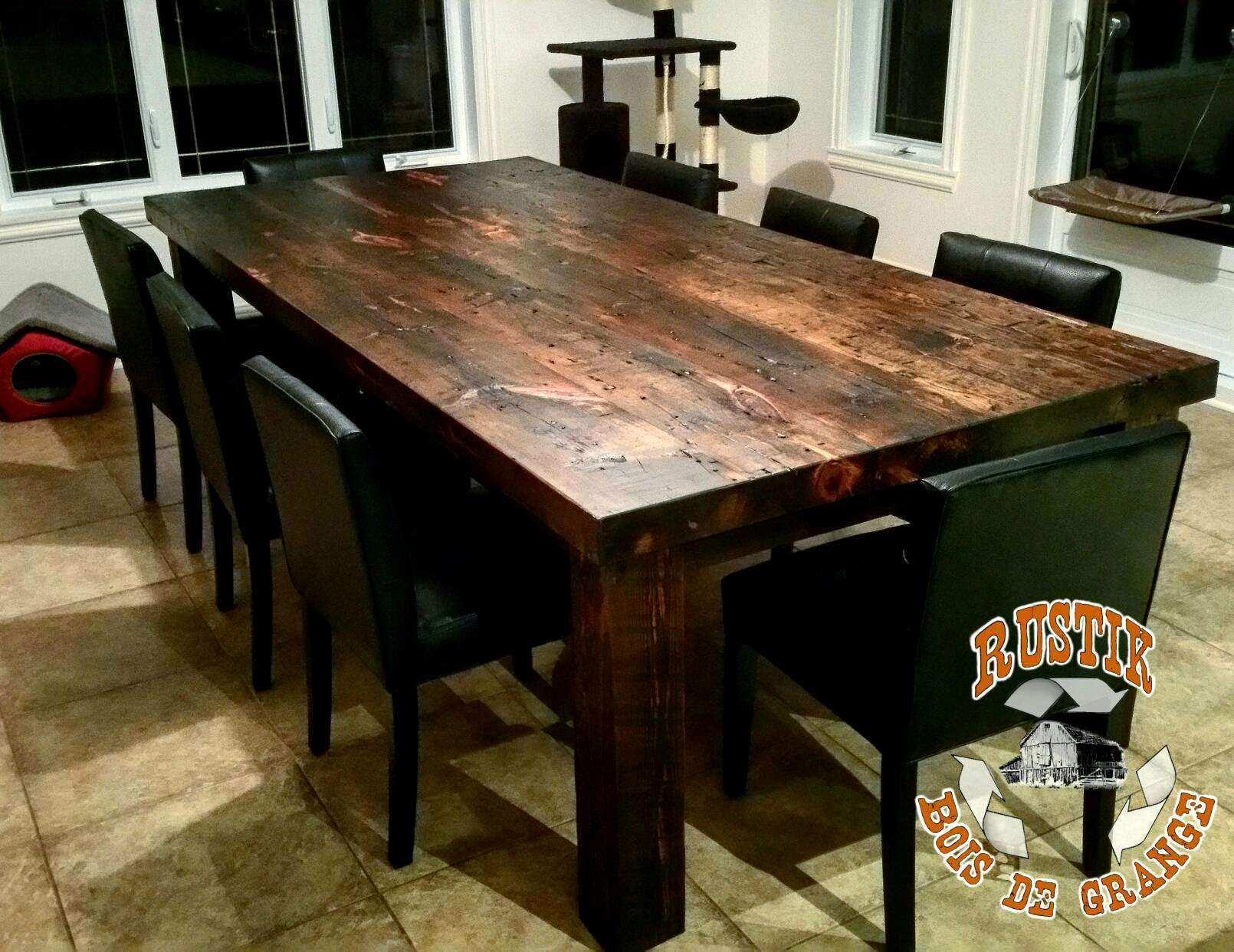 Table de cuisine en bois brut lille maison - Table cuisine bois brut ...